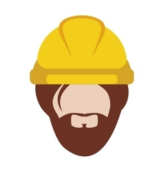 Front face man worker with helmet and beard vector
