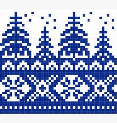Geometric pattern for cross stitch blue christmas vector