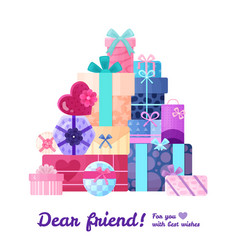 gifts presents boxes composition vector image