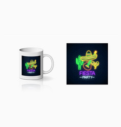 Glowing neon fiesta holiday sign for cup design vector