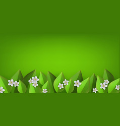 green leaves flowers frame background vector image