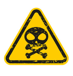 grunge danger skull and bones sign isolated on vector image