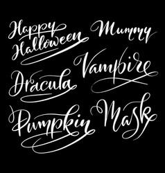 happy halloween hand written typography vector image