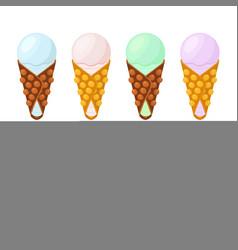ice cream in belgian wafflessundaechinese waffle vector image
