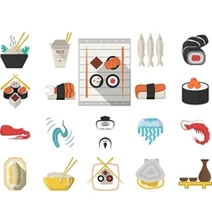 Japanese seafood menu flat icons vector