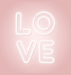 love neon sign happy valentines day pink design vector image