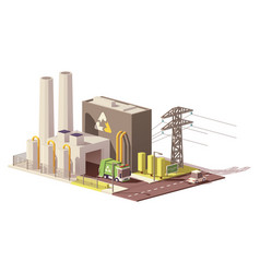 Low poly waste-to-energy plant vector