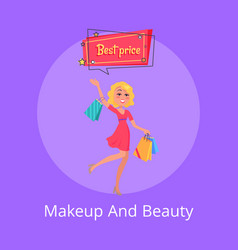 makeup and beauty poster with woman shopping bags vector image