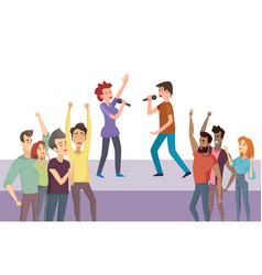 man and woman singing on stage concert vector image