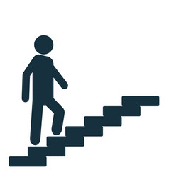 Man on stairs goes up motivation icon vector