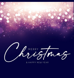 merry christmas design template with shining bokeh vector image