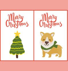 merry christmas tree and dog vector image