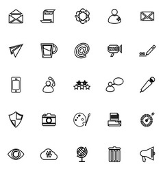 Message and email line icons on white background vector image