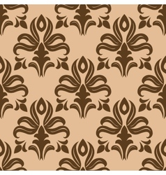 Modern foliate brown and beige arabesque pattern vector