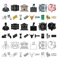 money and finance cartoon icons in set collection vector image