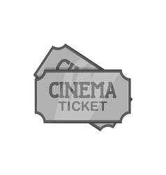 Movie ticket icon black monochrome style vector image