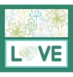 Mysterious green garden love text frame vector