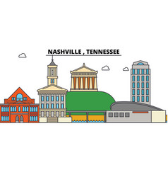 nashville tennessee city skyline architecture vector image