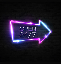 neon sign open 24 7 arrow pointer on black brick vector image