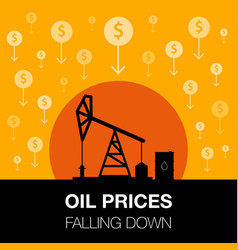 oil industry concept oil price falling down with vector image