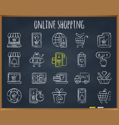 online shop chalk draw line icons set vector image