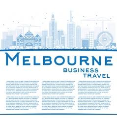 Outline Melbourne Skyline with Blue Buildings vector