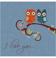 owls together darkblue vector image