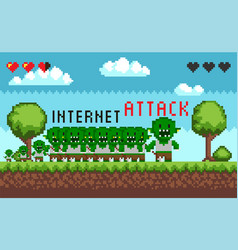 pixel game interface hacker attack vector image