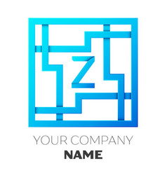 Realistic letter z logo in colorful square maze vector