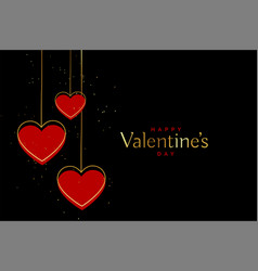 red and gold valentines day hearts on black vector image
