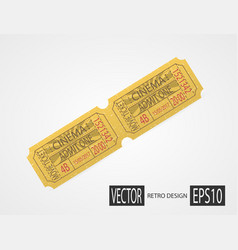Retro cinema tickets design yellow vector