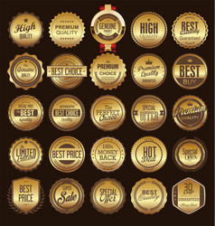 retro vintage golden badge and label collection vector image