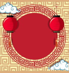 round frame template with chinese patterns vector image