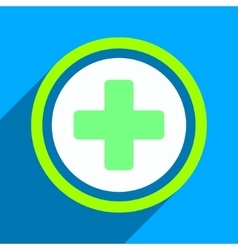 Rounded Cross Flat Square Icon with Long Shadow vector