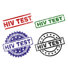 Scratched textured hiv test seal stamps vector