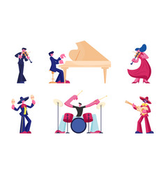 set artists and musicians isolated on white vector image