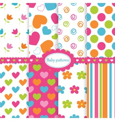 Set of baby patterns vector image