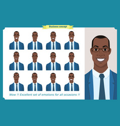 Set of male facial emotionsblack business man vector
