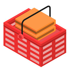 shop red basket icon isometric style vector image