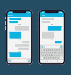 Smart phone with text message bubbles and vector