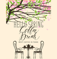 Spring banner for the best in town coffee vector