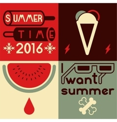 Summer time typographical poster vector image