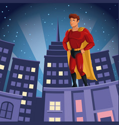 Superhero watching over building city night view vector