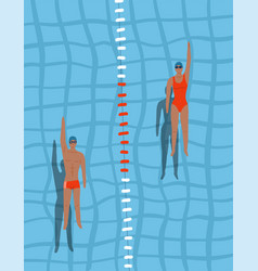 swimmers in pool top view man and woman swim vector image