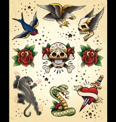 tattoo flash elements vector image