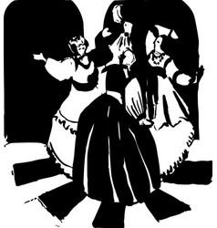 Three women dance russian style ink vector