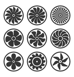 Turbines and Fan Icons Set Turbojet Engine Power vector image