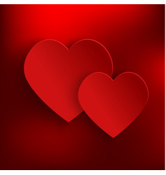 valentines day background with two red 3d hearts vector image