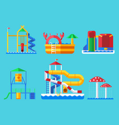 Water aquapark playground with slides and splash vector