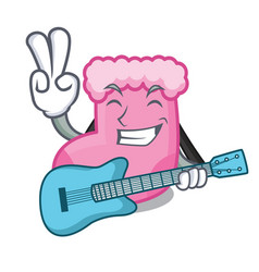 With guitar sock mascot cartoon style vector